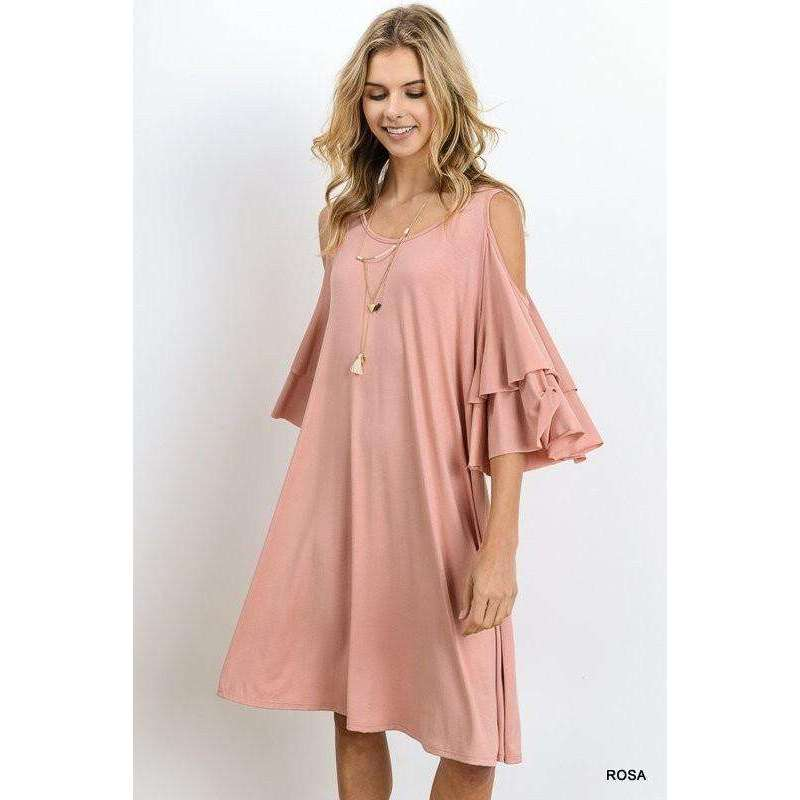Raegan Cold Shoulder Ruffle Sleeve Dress