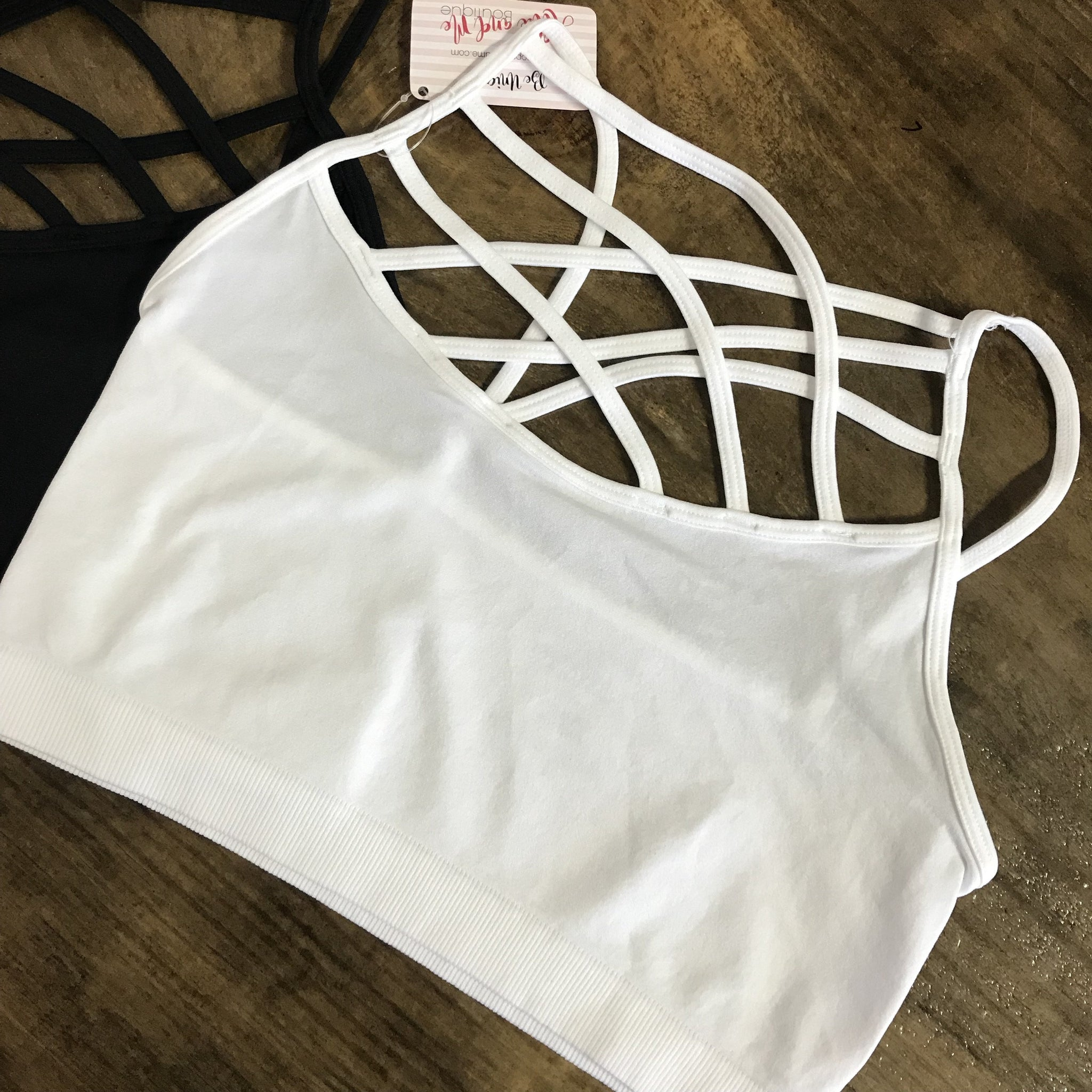 Pearl Cage Front Criss Cross Unpadded Bralette