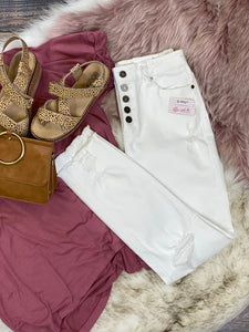 Val Button Fly White High Waisted Skinny Jeans