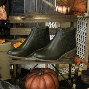 Detailed Criss Cross Sides Olive Booties