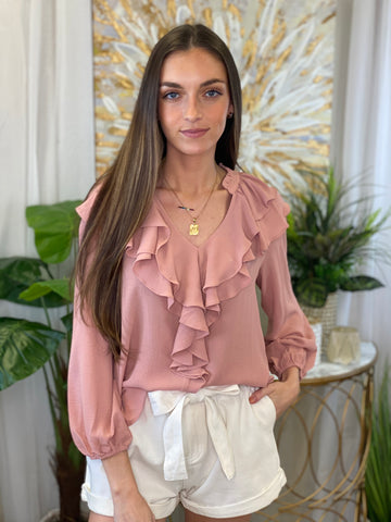 Tinsley Chiffon Ruffled Collar Blouse