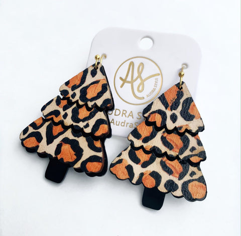 Leopard Christmas Tree Earrings