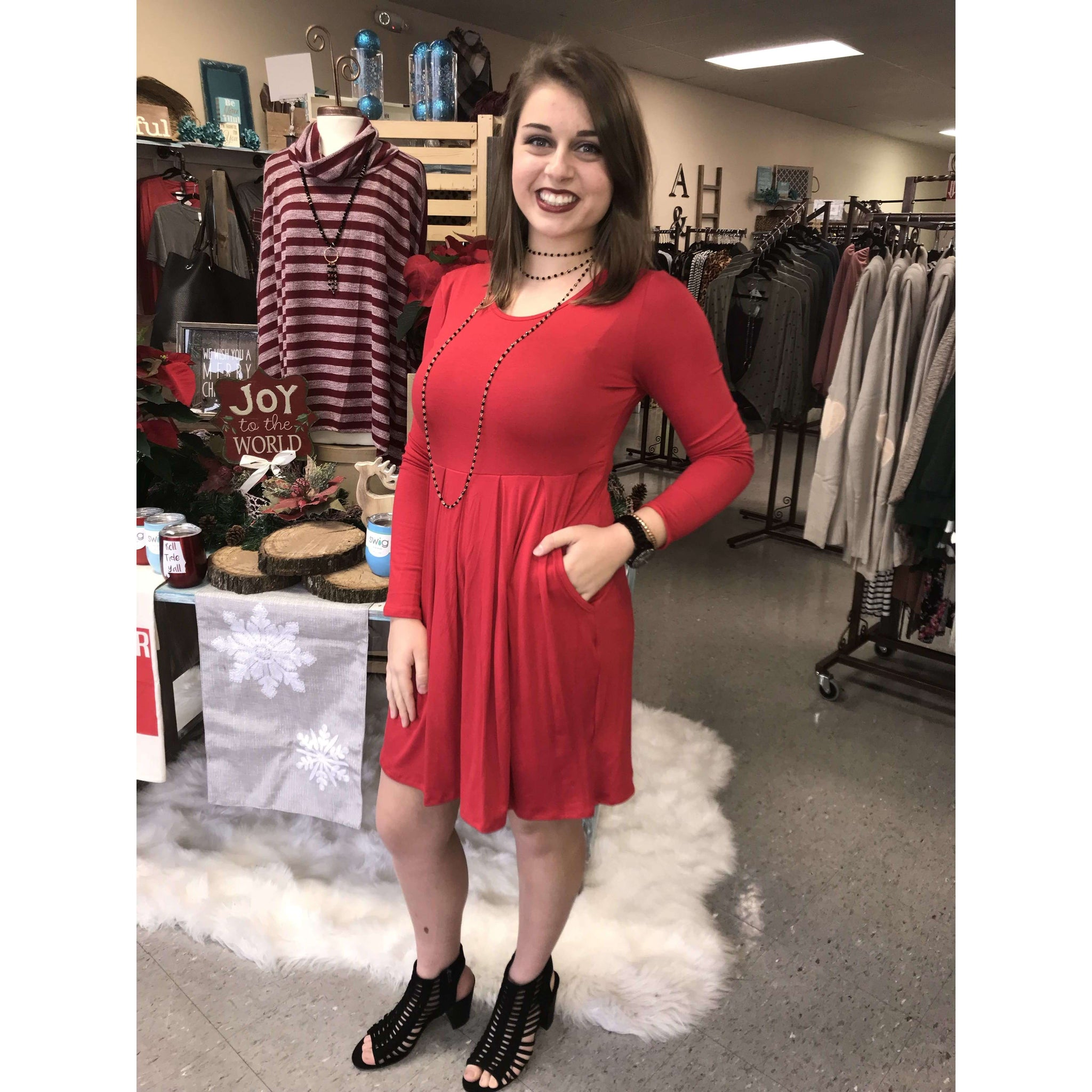 Centre Red Long Sleeve Dress With Pleats