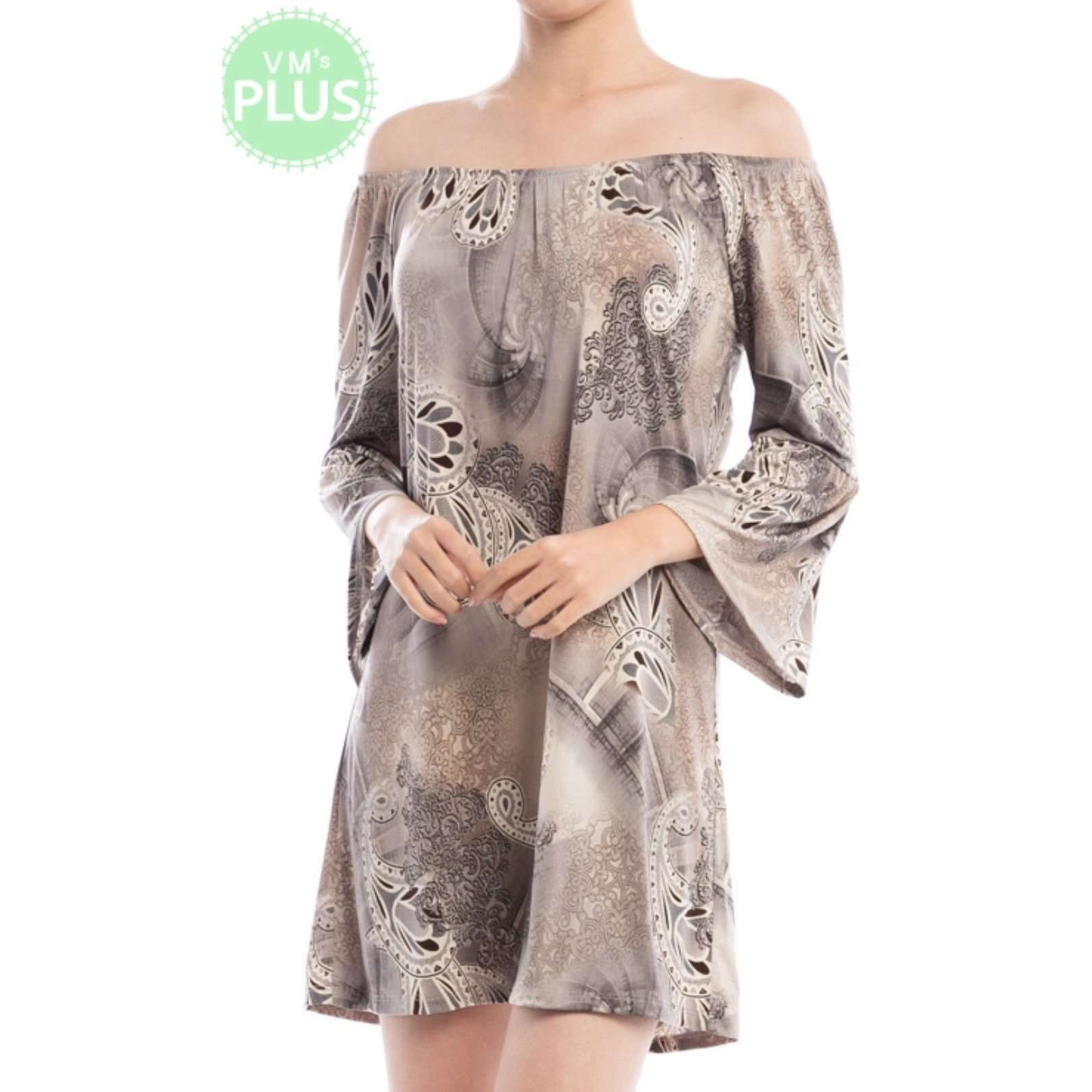 Angeline Paisley Print Off Shoulder Bell Sleeve Dress