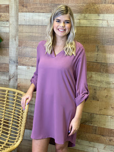 Tallie Purple 3/4 Roll Up Sleeve Tunic