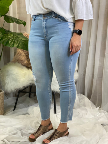 Sally Light Wash High Waisted Skinny Jeans