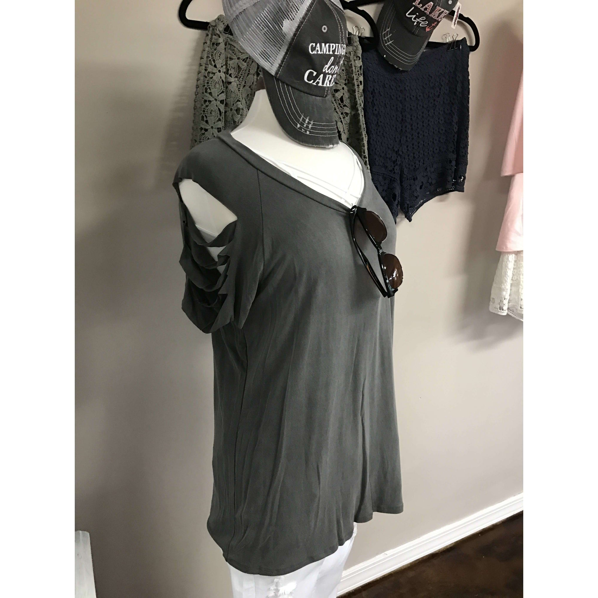 Portia Top With Ladder Sleeve Cut Out