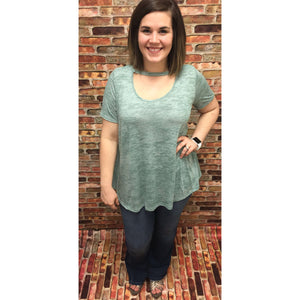 Lili Two Toned Sage Scoop Neck Lush Top