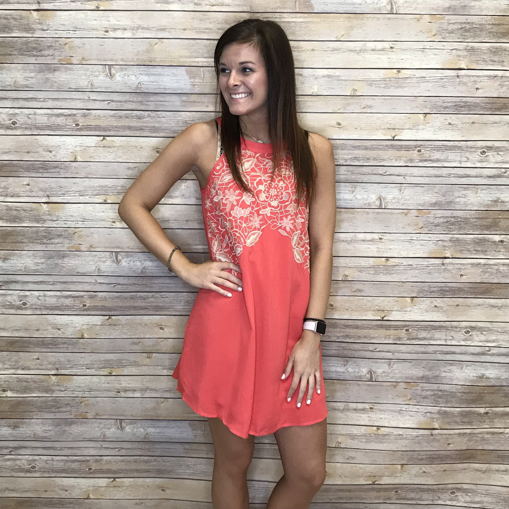 27aa74e3e69f Neptune Coral Taupe Swing Dress – Allie and Me