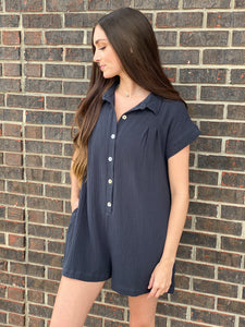 Lily Charcoal Woven Gauze Romper