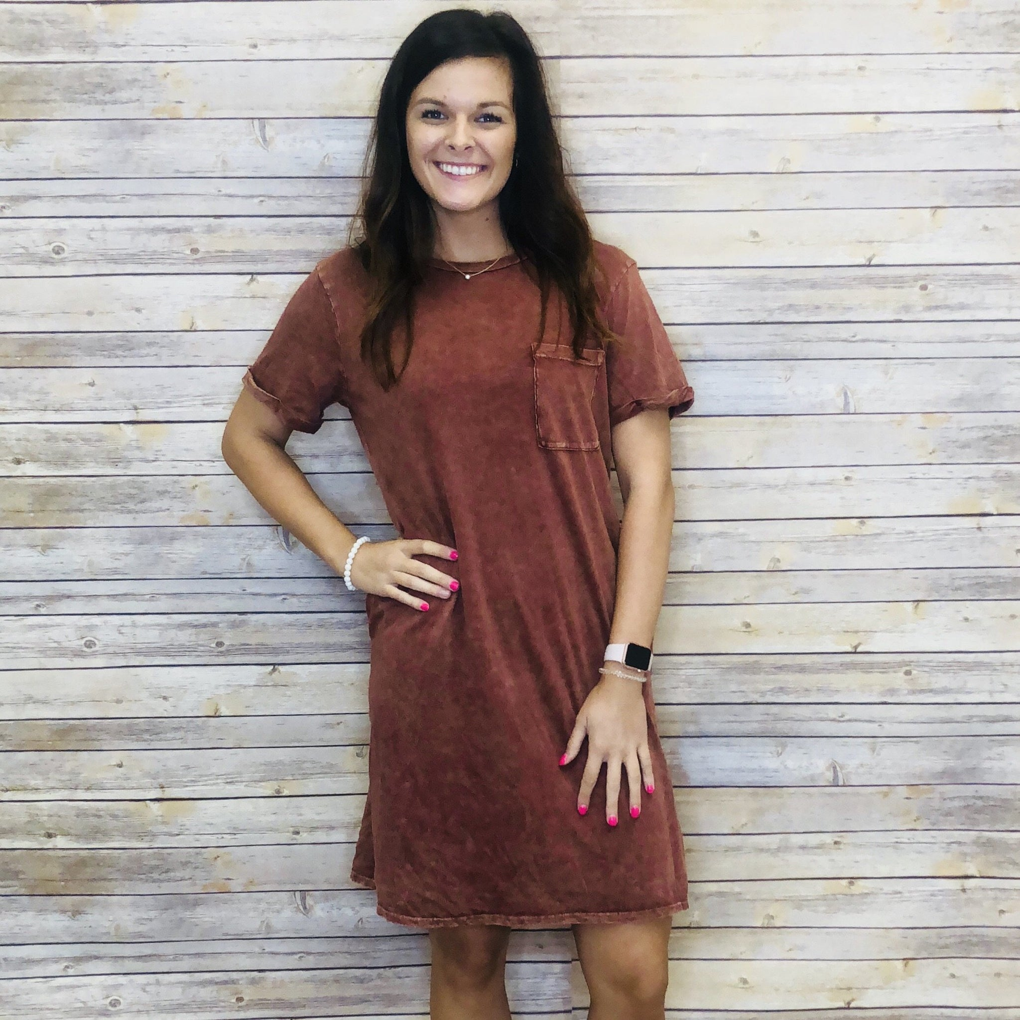 Lila Mineral Wash Pocket Tee Dress With Pockets