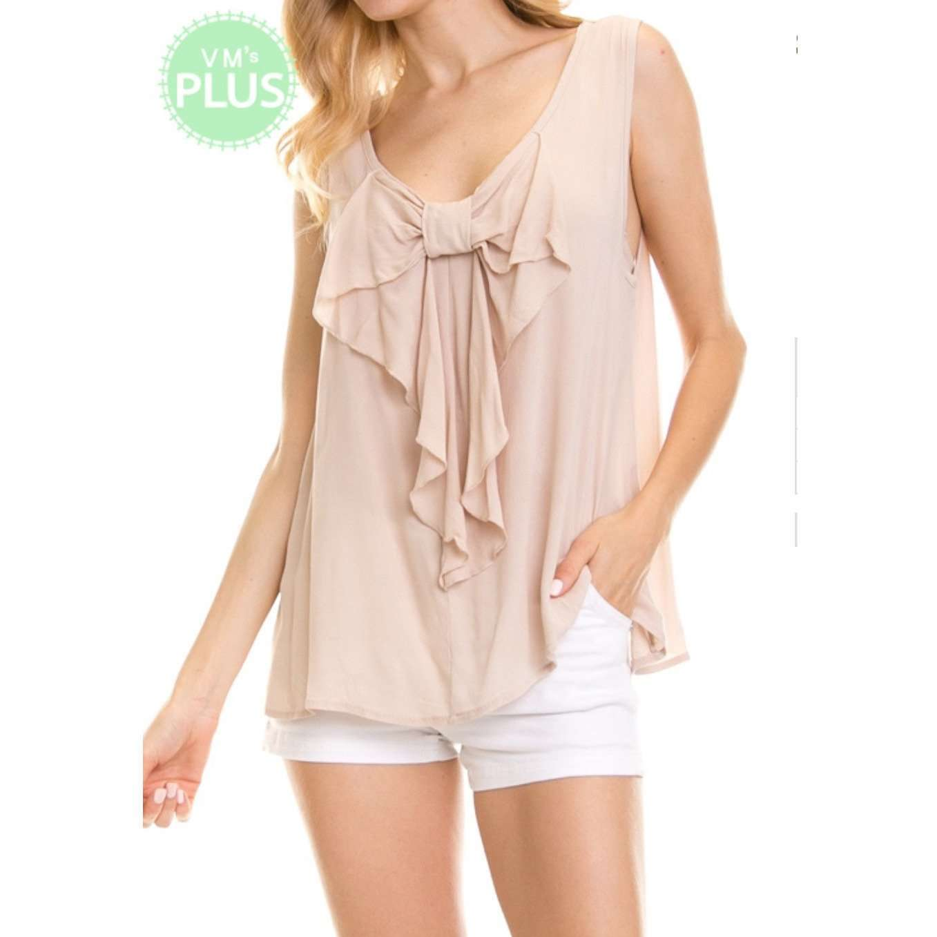 Gabrielle Bow Detail Taupe Tank Top