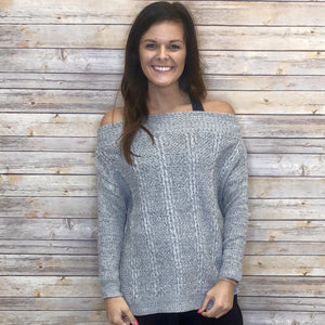 Adele Lush Off Shoulder Grey Sweater