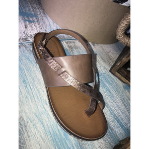Aubrey Coffee Flat Sandals