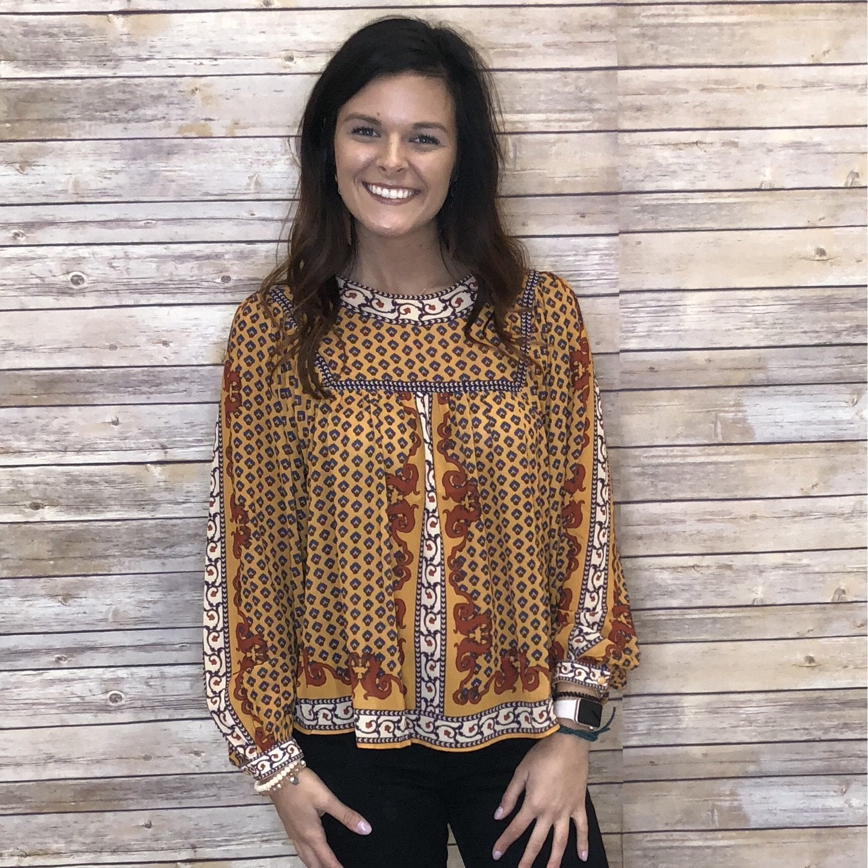Isadora Lush Printed Cuff Sleeve Top