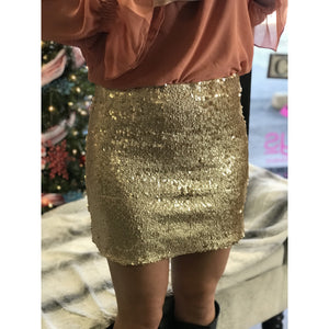 Serali Gold Glitter Sequin Zip Up Skirt