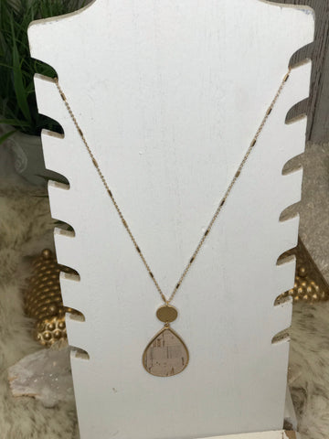 Corinda Cork and Gold Teardrop Necklace