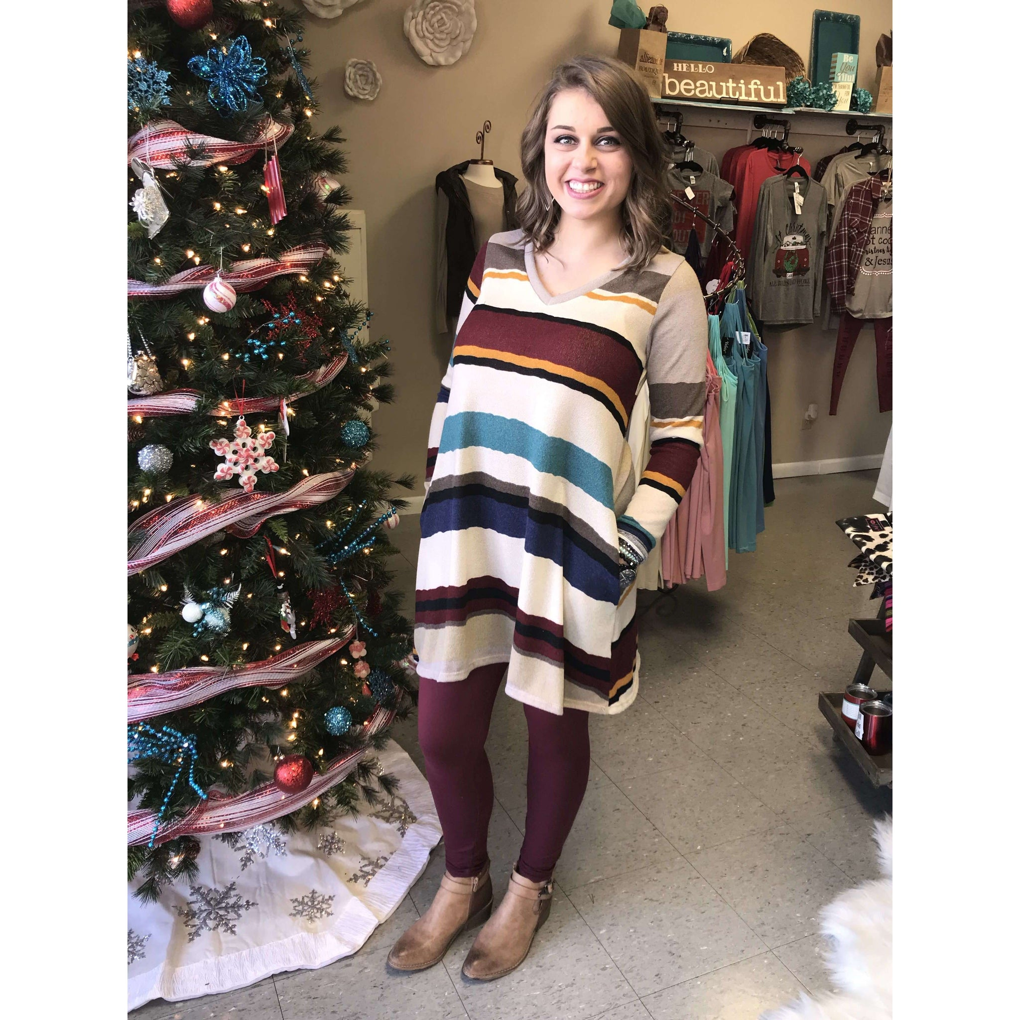 Vallerie Long Sleeve V Neck Colorful Striped Dress