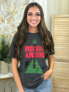 """Rockin' Around"" Christmas Graphic Tee"