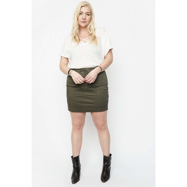 Camila Front Lace-Up Lush Skirt