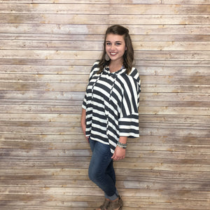 Veronica Striped Hooded Oversized Top