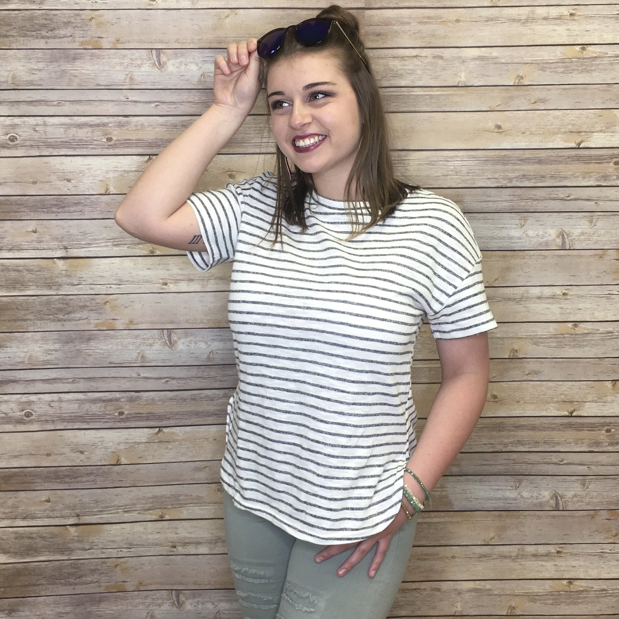 Sallie Striped Knitted Jersey Top