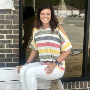 Lillian Multi Stripe Cold Shoulder Knot Top