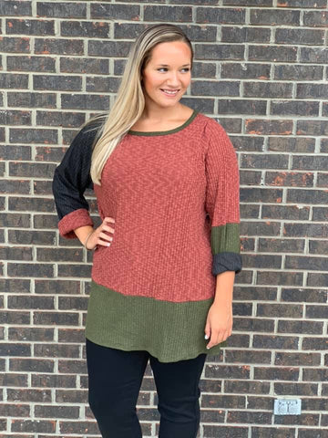 Estelle Color Block Sleeve Lush Top