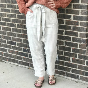 Salley Cotton Striped Crop Pants With Front Tie