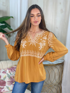 Polly Marigold Embroidered Blouse