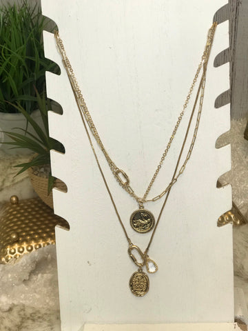 Calla Coin Charm Layered Necklace
