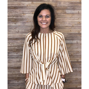 Mada Striped Peplum Blouse with Sailor Knot