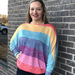 Raine Striped Multi Color Loose Fit Top w/ Cuff Sleeve