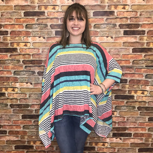 Felicia Teal Mix Striped Dolman Sleeve Top