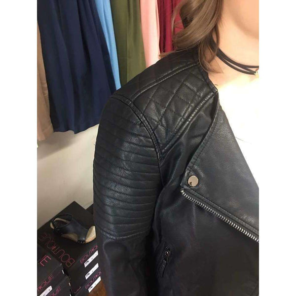 Torie Faux Leather Jacket With Quilted And Zipper Detail