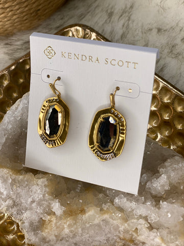 Anna Drop Earrings Vintage Gold Black Pyrite