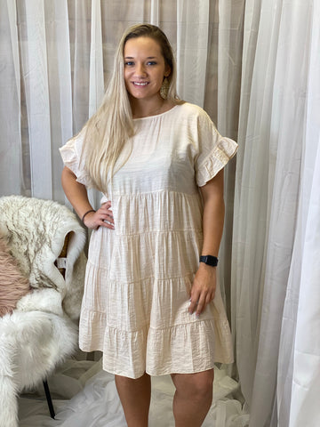 Willow Cream Lush Ruffled Short Sleeve Tiered Dress