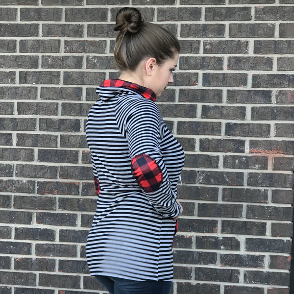 Raine Grey Buffalo Plaid Funnel Neck Top