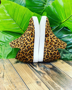 Jersey Leopard Wedged Sneakers