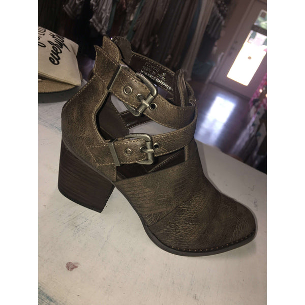 Prance Brown Strappy Bootie