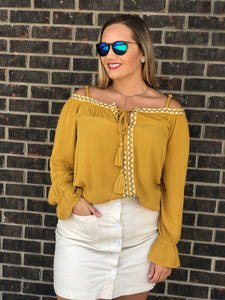 Allie Embroidered Aztec Cold Shoulder Blouse