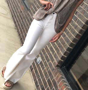 Trace White Bell Bottoms With Raw Hem