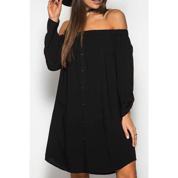 Krystin Off Shoulder Dress Button Roll