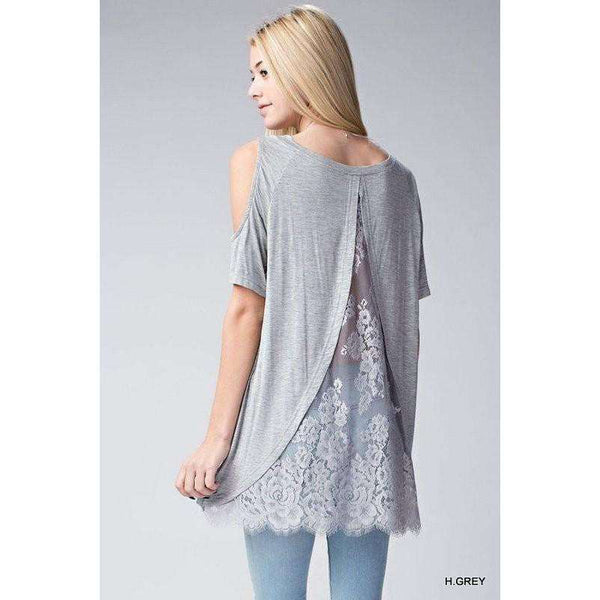 Mally Cold Shoulder Top With Lace Back