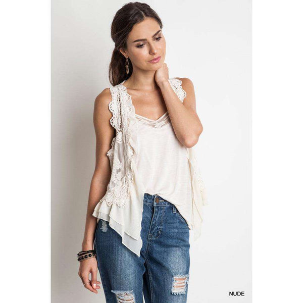 Abby Sleeveless Lace Vest