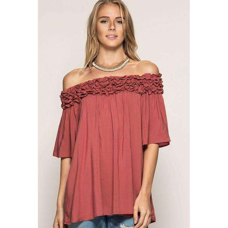 Raylee Half Sleeve Off Shoulder Tunic w/ Ruffle Ruching Detail