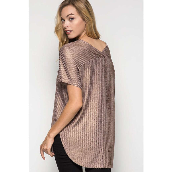 Misty Ribbed Metallic Rose Gold Top