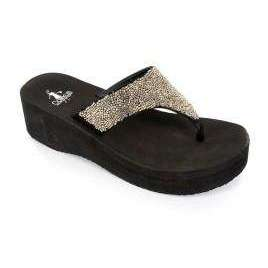 Opal Pewter Flip Flop With Bead Embellishment