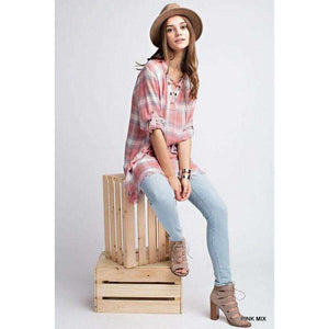 Jacklyn Plaid Lace Up Top With Roll Up Sleeves