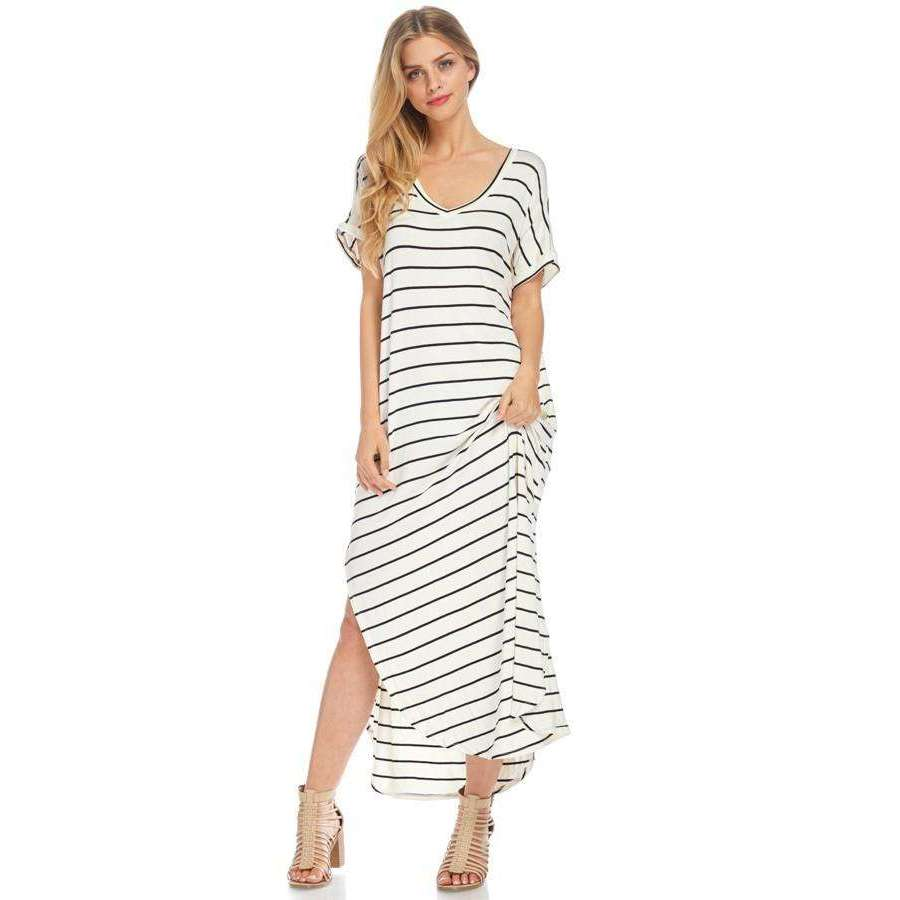 Liza Black Striped Maxi Dress With Pockets
